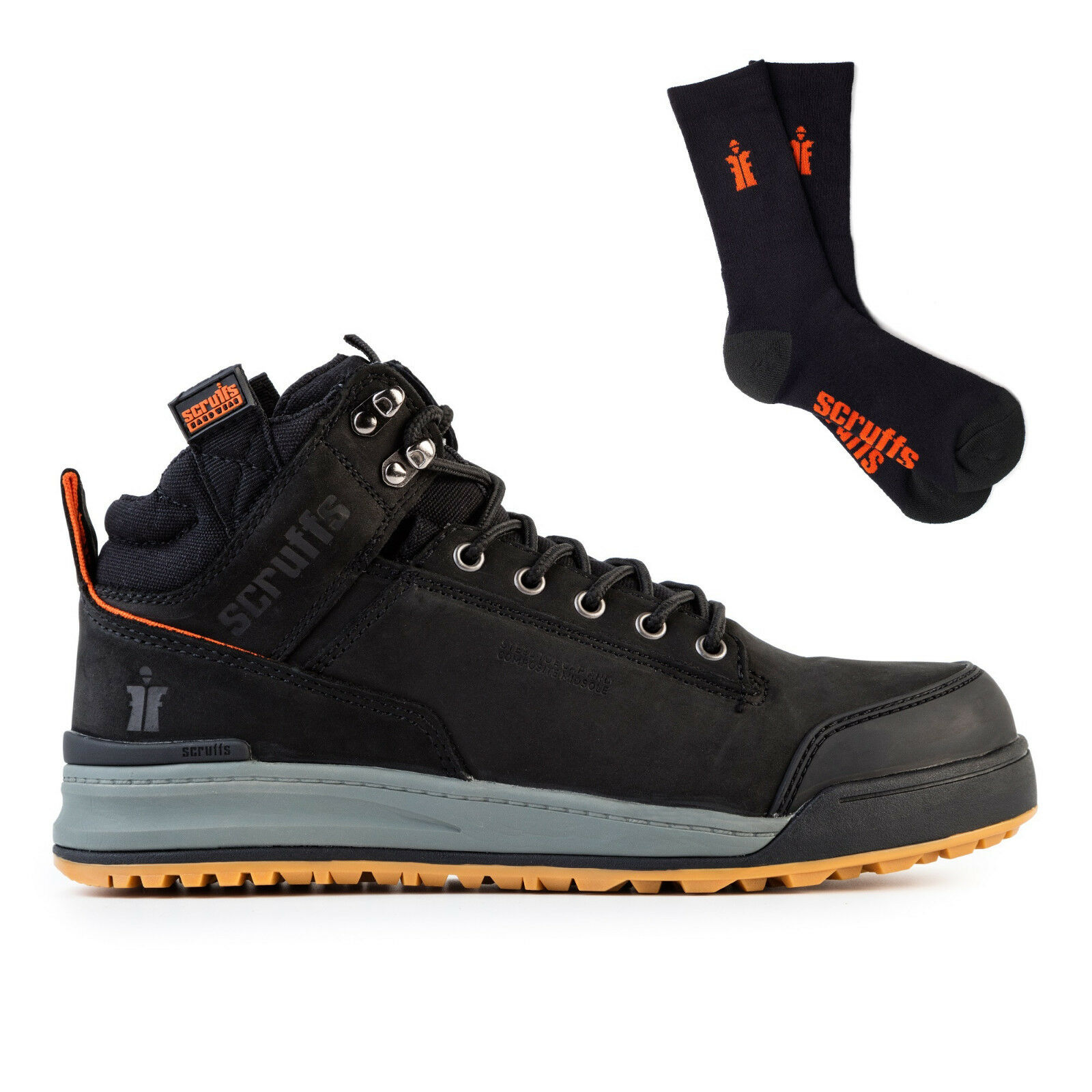 Scruffs Steel Switchback Safety Work Stiefel Steel Scruffs Toe BLACK with 3 Pack Worker Socks f6221c