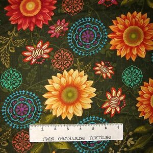 Fall-Fabric-Autumn-Elegances-Sunflower-Medallion-Green-Studio-E-YARD
