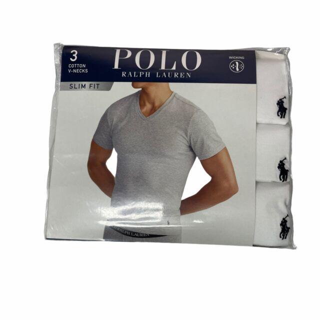 Polo Ralph Lauren Three 3 Pack Large Slim Fit V-neck T Tee Shirt White