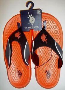 471409c03124 Mens U.S. POLO ASSN Flip Flops Sandals Shoes Size 8 Orange !