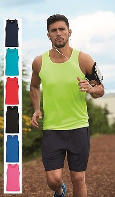 Mens Contrast Polyester Breathable Wicking Athletic Sports Tank Top Vest Singlet