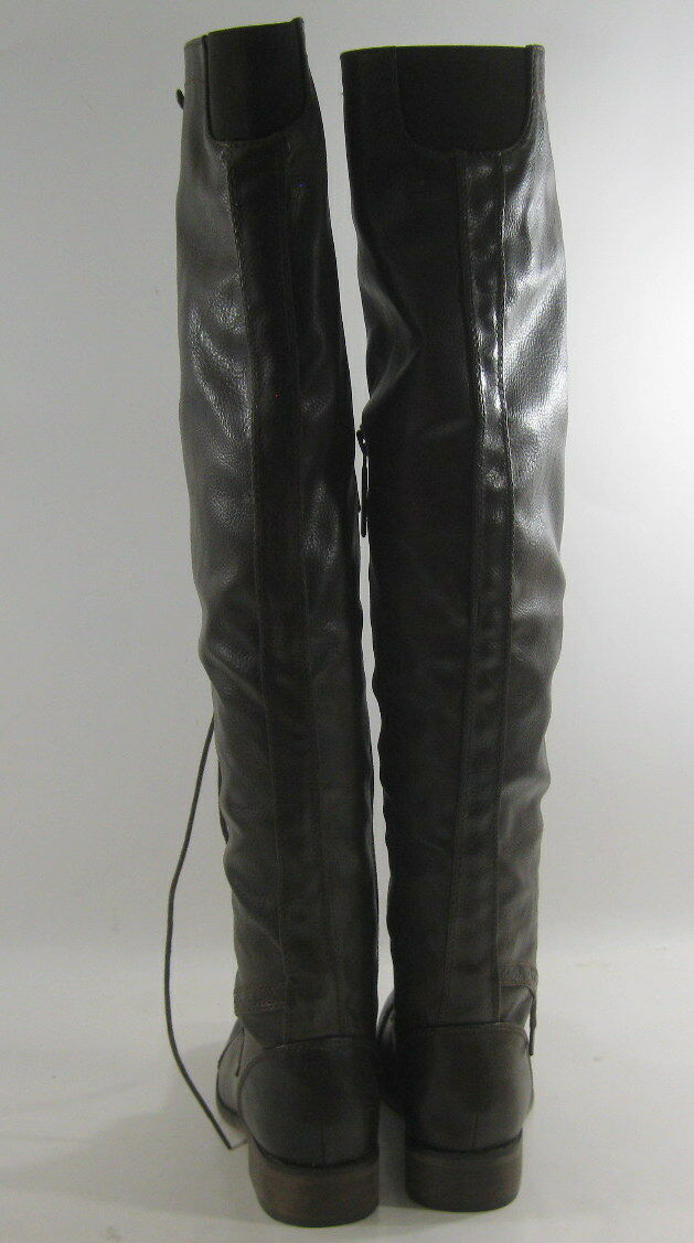New Dark Brown 1 1 1 Block Heel Front Lace Up Sexy Over Knee Boot Size 6 2ebbe4