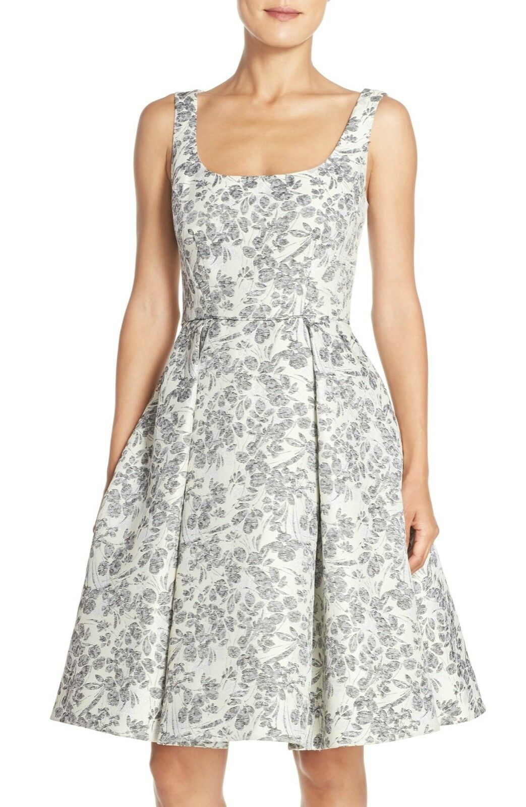MAGGY LONDON Floral Brocade Fit & Flare Ivory Grey ModCloth Dress NWT US6 Fits M