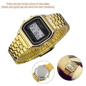 Art-und-Weise-Retro-Unisex-Edelstahl-LCD-Digital-LED-Armbanduhr-Geschenk-gold-KS