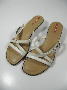 3b34d3f42f0b4 Prada Womens Shoes Size 37 (7) Tan White Strappy Sandals Slip On ...