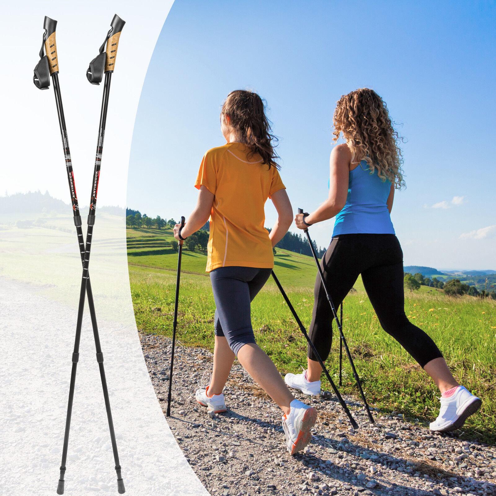 Paire bâtons de de de marche nordique télescopiques trekking randonnée réglable noir 41bb87