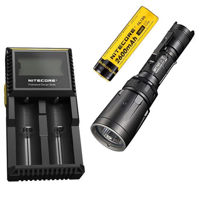 Combo: Nitecore  SRT7GT Flashlight  Nitecore w/NL186 2600mAh Battery & D2 Charger 989fbc