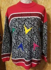 Details about VTG 80s 90s Sweater Colorful Red One Step Up Geometric Zig  Zag Squiggle Large