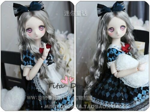 1//6 6-7 Bjd Wig Dal YOSD BB Doll Gray Long Curly hair