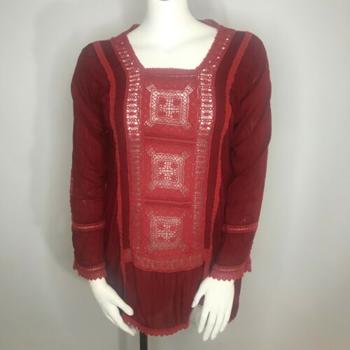 Johnny Was Burgundy Red Rayon Crochet Lace Panel T
