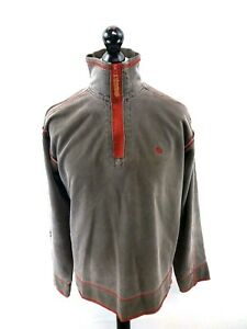 FAT-FACE-Mens-Jumper-Sweater-S-Small-Grey-Red-Cotton-amp-Polyester-1-4-Zip