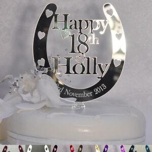 Image Is Loading Personalised Happy Birthday Cake Topper NAME AGE Horseshoe