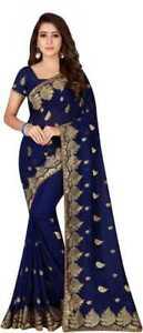Navy Blue Embroidered Georgette Indian Wedding Designer Saree Sari