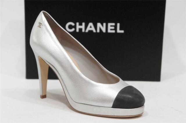 81346b23ad44 CHANEL CC CAP TOE TWO TONE SILVER BLACK LEATHER PLATFORM PUMPS SHOES 36.5 6   995