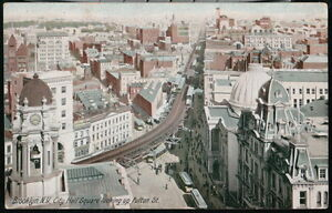 BROOKLYN-NYC-NY-City-Hall-Square-Looking-Up-Fulton-Street-Vintage-Postcard-Old