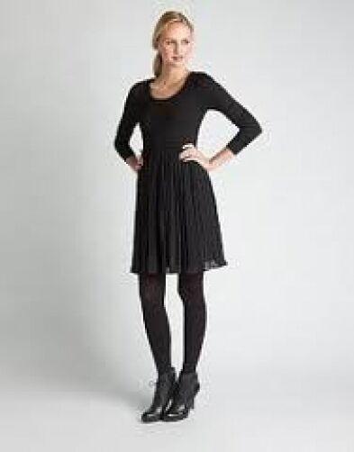 DKNY Long Sleeve Pleated Dress L schwarz NWT