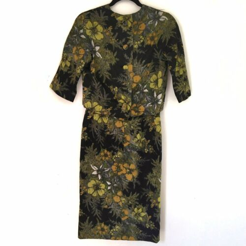 William Pearson Floral On Black Vtg Sheath Dress S