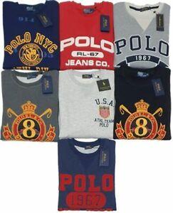 New-Men-039-s-Ralph-Lauren-Crew-Neck-Sweat-Shirt-Fleece-Graphic-in-different-Colors