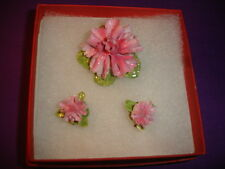 J-43     Vintage Signed Thorley England Floral Bone China Pin and Earrings Set