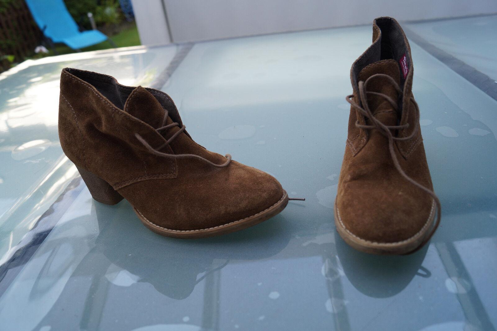 TAMARIS Trend Damen Schuhe Stiefel Stiefeletten Absatz Gr.40 wildleder braun #80