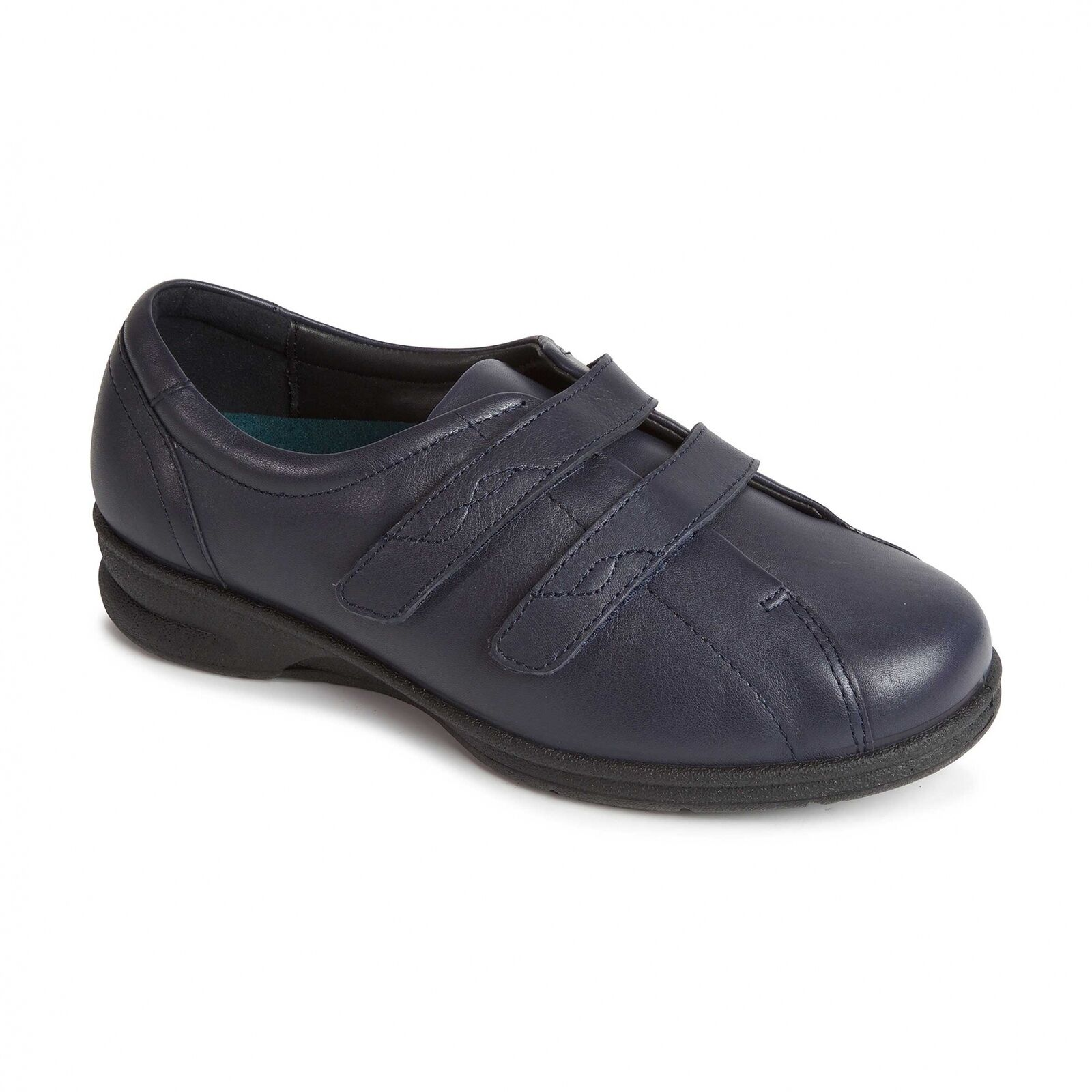 Padders KERRY Ladies Womens Soft Leather Wide 4E 6E 6E 6E Fit Touch Fasten shoes Navy 71f6a1