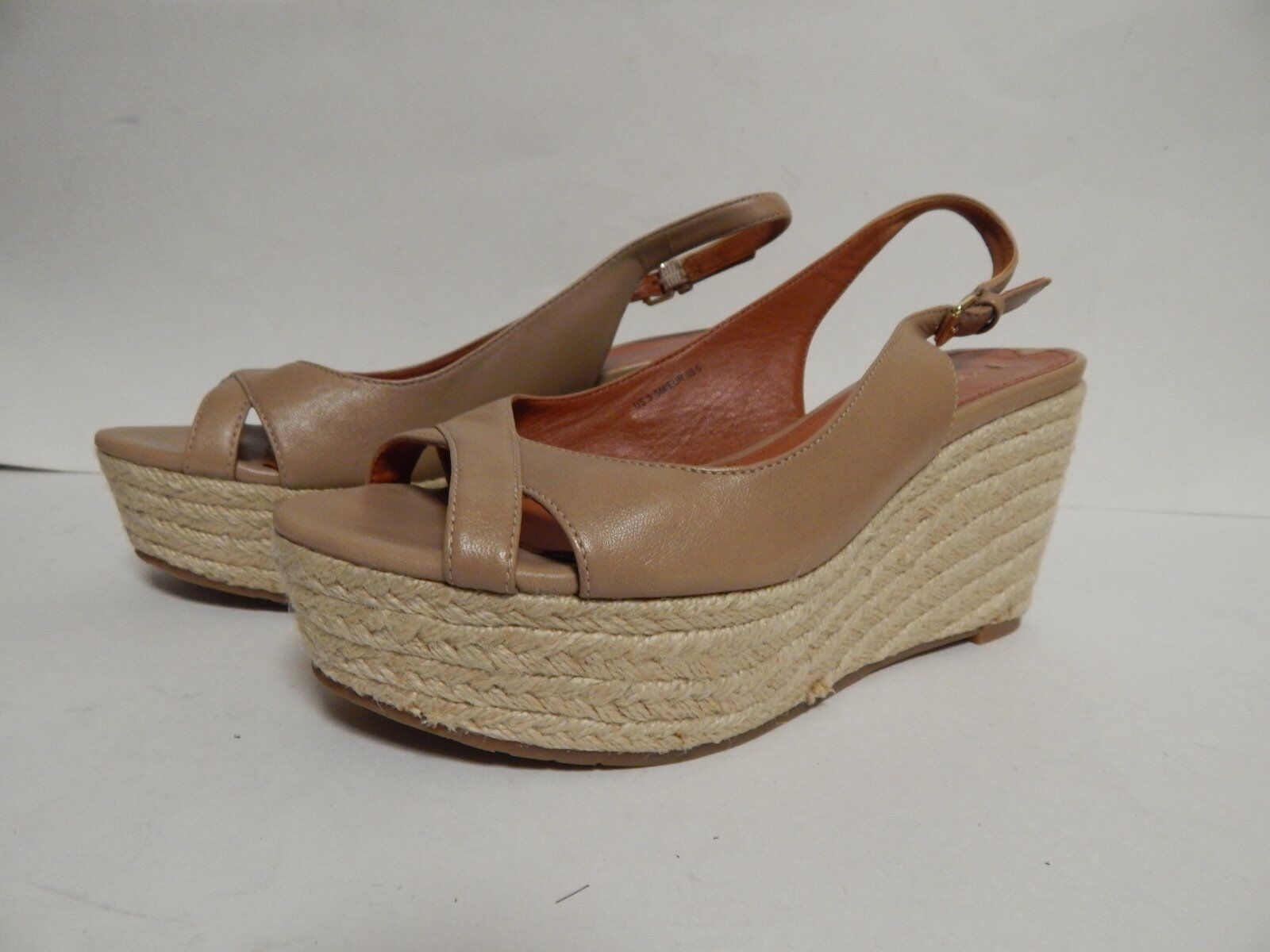 Via Spiga Luciana Wedge Heel Sandal 5.5 M Nude Leather New w  Defect