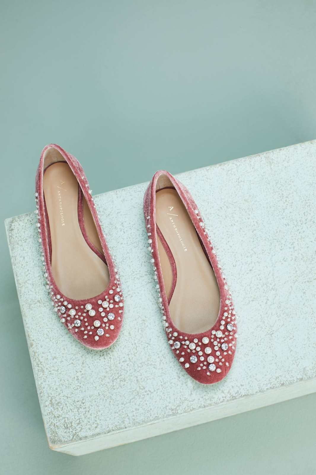 NEW Sz Anthropologie Opulent Embellished Pearl Ballet Flats Schuhes Sz NEW 10 or 40 NIB 136bf9