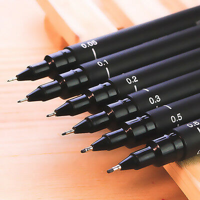Hot 6pcs Micron Fine Line Pen 005 01 02 03 05 08 BRUSH Art Supplies Tools