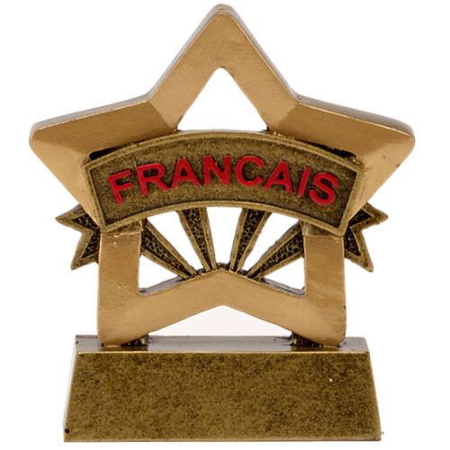 Résine French Francais Mini Star Trophée School Award 8 cm Gravure Gratuite A1670 GMS