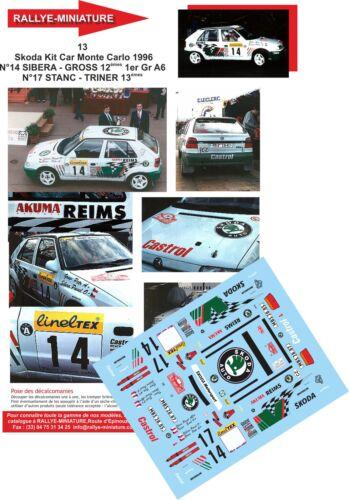 DECALS 1//32 REF 13 SKODA FELICIA KIT CAR SIBERA RALLYE MONTE CARLO 1996 RALLY