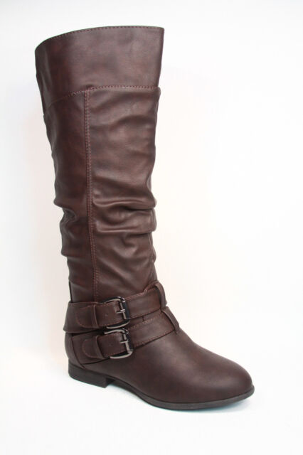 Cute Low Flat Heel Mid-Calf  Knee High Riding Boot Women's Shoes Size 5 -10 NEW