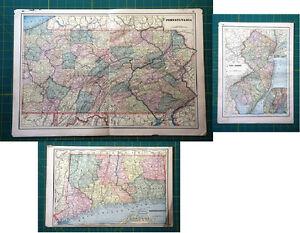 Pennsylvania New Jersey Connecticut - Vintage Original 1893 Antique Atlas Maps