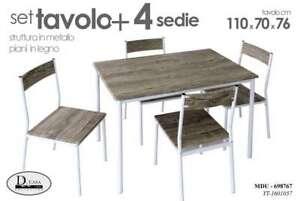Set tavolo 110*70*76 cm 4 sedie struttura in metallo piani in
