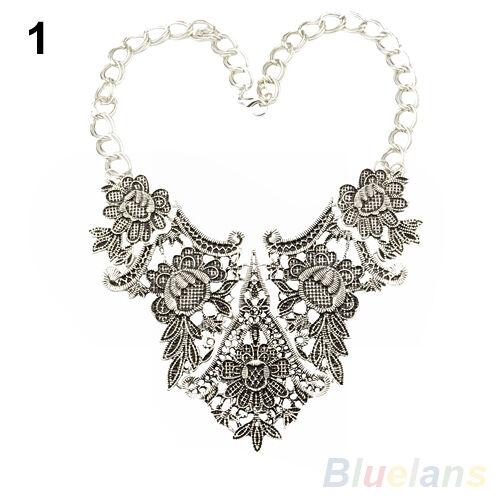 Baroque Retro Geometric Flower Hollow Bib Necklace Silver Gold Plated Pendant