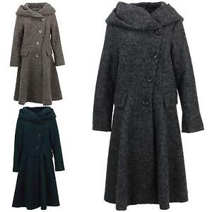 Ladies-Wool-Winter-Coat-Jacket-BOHEMIA-SWEDEN-Woven-Wool-rich-blend-Hood