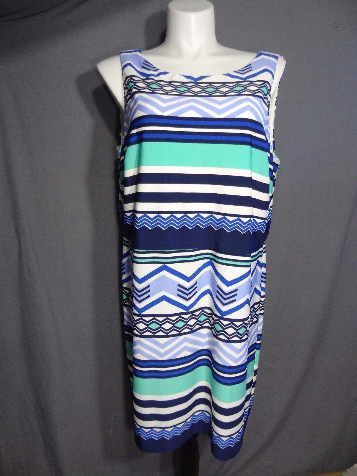Eliza J Matte Matte Jersey Blouson Popover Dress In Geometric Print Size 18W
