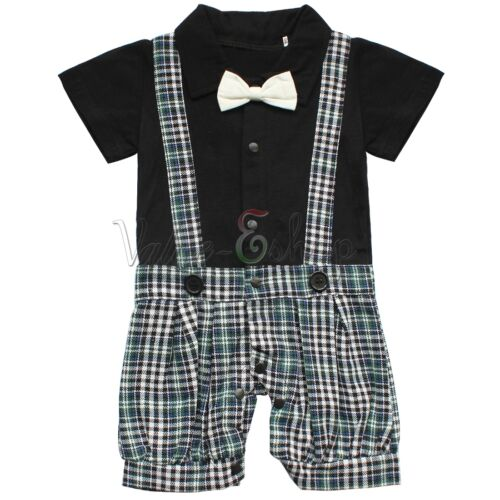 Baby Boy Wedding Tuxedo Formal Dressy Suit Bodysuit Jacket Outfits Clothes 3-24M