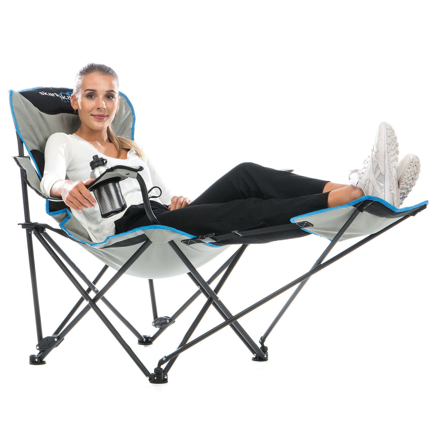 SKANDIKA Camping Fauteuil relax pliable Jambe Extension Boisson Support max. 130 kg NEUF
