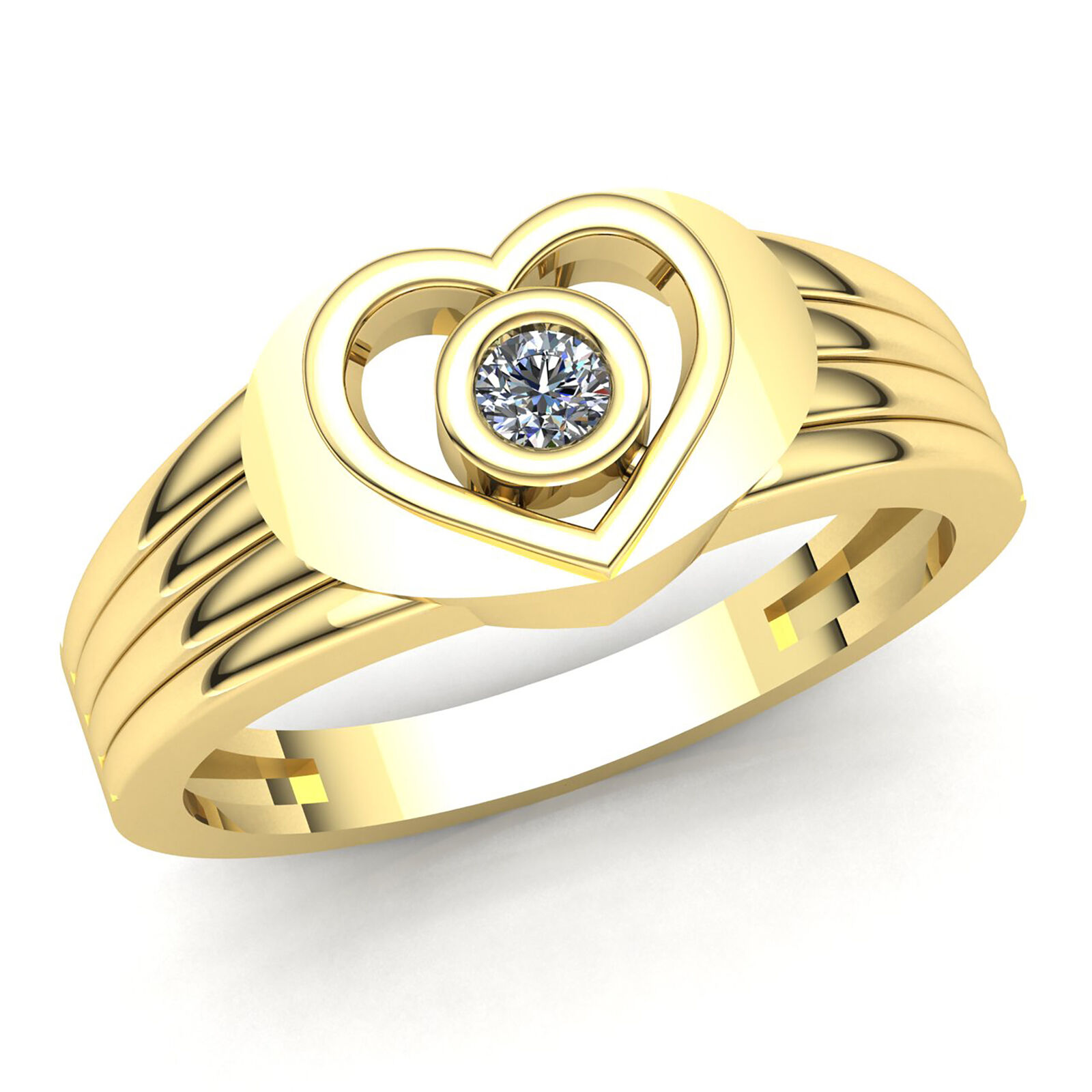 Genuine 0.6ct Round Cut Diamond Mens Heart Solitaire Engagement Ring 10K gold
