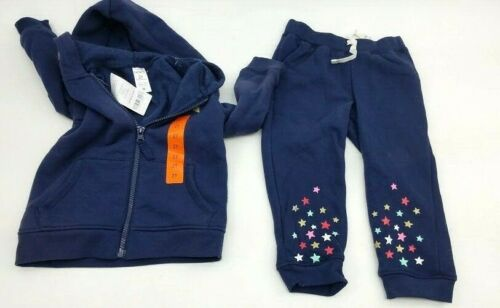 Girl/'s Carters 2Pc Super Star Hooded Sweat Suit Navy Blue /& Stars Pic Sz 18M 3T