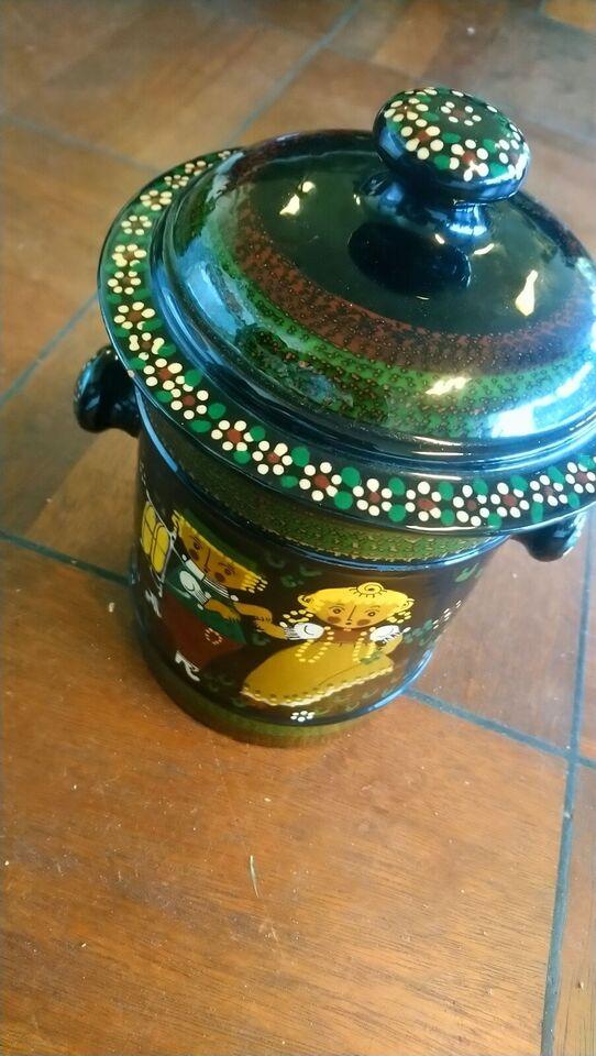 Keramik, W Aebi Hasle stor smuk krukke med låg