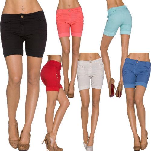 Short femmes Bermudes-shorts coton Fête Club lin pantalon top s 32 34 36