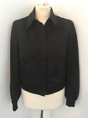 Akris Punto Black Stretch Cotton Smocked Lightweight Jacket Size 6 EUC