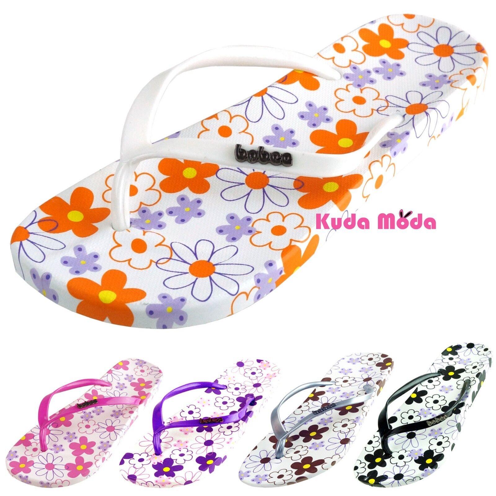 Women Summer Flower Flops Printed Pattern Casual Thong Flat Flip Flops Flower Sandals Slipper ea8f5b