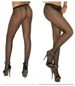 FISHNET-PANTYHOSE-WITH-RHINESTONES-BACKSEAM-TIGHTS-One-Size-amp-Queen-Size