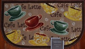 Details About Coffee Kitchen Rug Cafe Latte Mat Morning Cup Saucer Tan Brown Bath Gift New