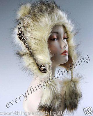 Wool Faux Fox Fur Winter Mongolian Hat Ushanka Trapper Russian Style Beige