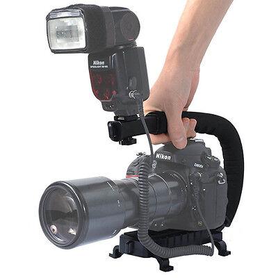 U-Shape Flash Video Bracket Stand Grip Holder for DSLR Camera Camcorder
