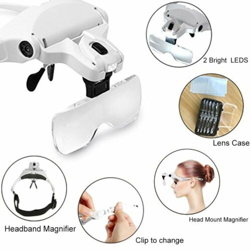 Lighted Headset Magnifying Glasses With Lights Head Magnifier Loupe For Close Wo