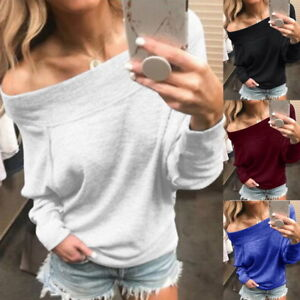 US Fashion Womens Long Sleeve Off Shoulder Blouse Tops T Shirt Fall Casual Loose